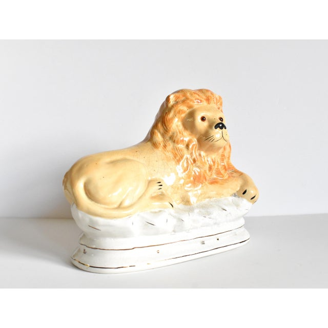 Mid 20th Century Mid 20th Century Vintage Staffordshire Style Recumbent Lions - a Pair For Sale - Image 5 of 12