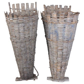 Antique French Vineyard Harvest Baskets - a Pair For Sale