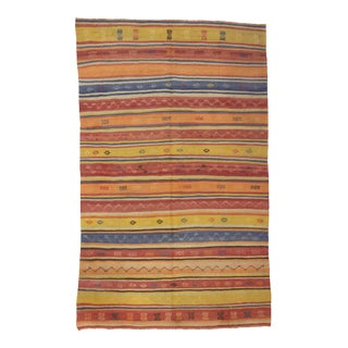 1960s Turkish Striped Embroidered Wool Kilim Rug For Sale