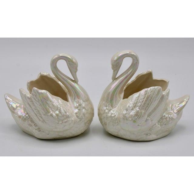 Cream Cream Lusterware Swan Cachepot Planters - a Pair For Sale - Image 8 of 10