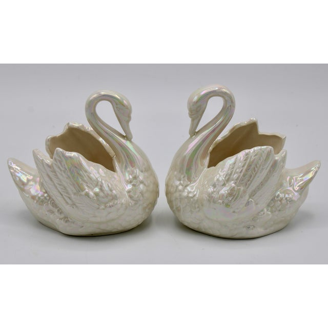Cream Pair of Small Cream Lusterware Swan Cachepot Planters For Sale - Image 8 of 10
