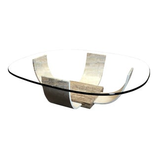 1970s Mid Century Modern Parchment Coffee Table For Sale