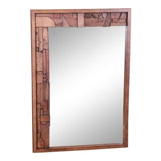 Paul Evans Style Lane Pueblo Brutalist Framed Wall Mirror, 1970s For Sale
