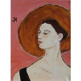 "Image of ""The Brown Hat"" Contemporary Portrait Acrylic Painting by Sarah Myers For Sale"