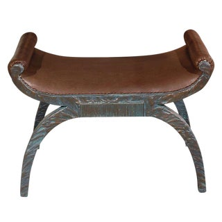 Customizable Paul Marra Neoclassical Bench in Faux Bronze