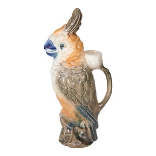 Antique French St. Clement Majolica Parrot Pitcher For Sale