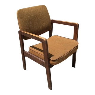 1980s Vintage Solid Walnut Arm Chair For Sale