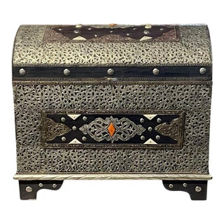 1990s Moroccan Wooden Chest With Silver And Bone