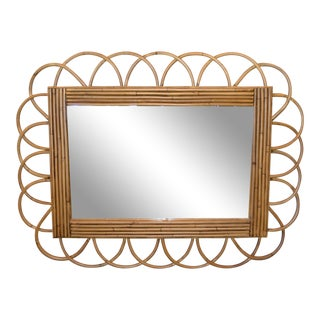 Mid-Century Modern Rattan and Bamboo Wall Mirror For Sale