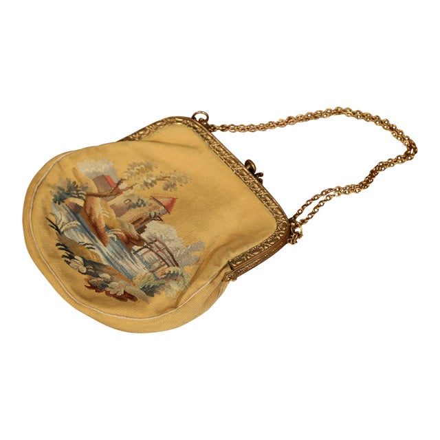 19th Century French Louis XVI Aubusson Ladies Purse With Brass Strap and Lock For Sale