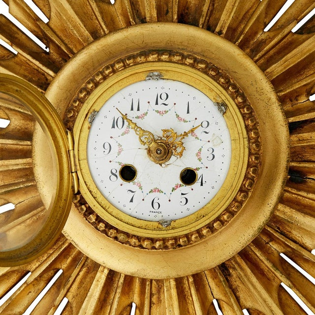 Vintage Gilded Wall Clock For Sale - Image 4 of 6
