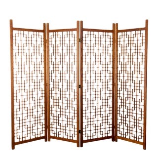 Mid-Century Geometric Teak Folding Screen For Sale