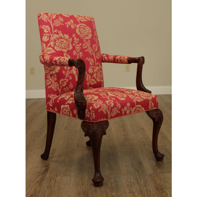 Baker Furniture Company Georgian Style Custom Quality Carved Mahogany & Upholstered Set 10 Dining Chairs For Sale - Image 4 of 13