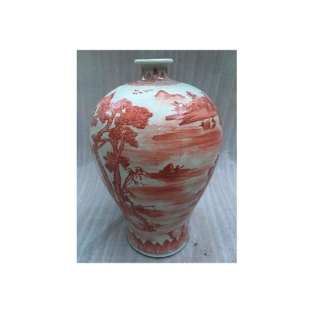 Chinese Hand Painted Coral Village Scene Vase - Image 5 of 6