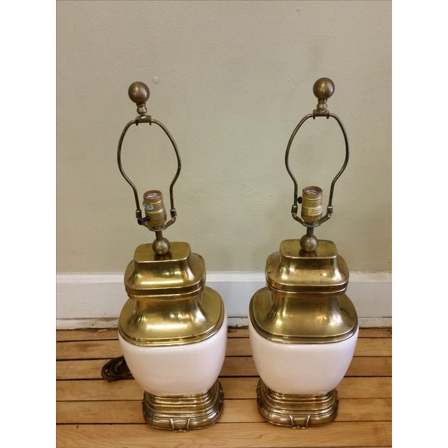 Chapman Ceramic and Brass Hollywood Regency Lamps - Pair - Image 7 of 9