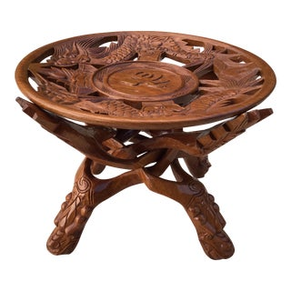 Bohemian Carved Wood Dragon Plant Stand