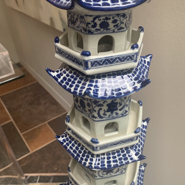 Blue Chinese Pagoda Ceramic Statue For Sale - Image 8 of 13