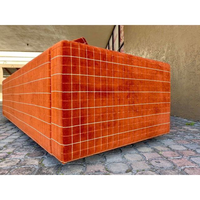 70s Orange Stripped Long Sofa Baughman/Probber Era For Sale In Tampa - Image 6 of 9