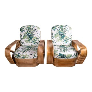 1940s Vintage Art Deco Tropical Rattan Club Chairs- A Pair For Sale