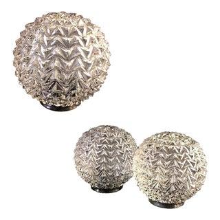 Mid-Century Hobnail Diamond Cut Glass Globes Lamp Shades - Set of 3