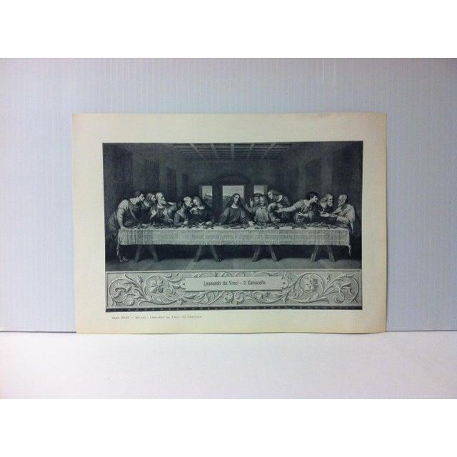 """Circa 1930 """"Leonardo Da Vinci - Il Cenacolo"""" Print of Milano Italy Print For Sale - Image 4 of 4"""