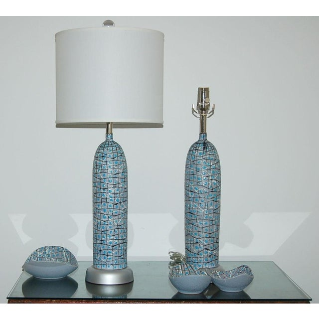 1950s Marbro Italian Ceramic Table Lamps and Bowls Blue For Sale - Image 5 of 12
