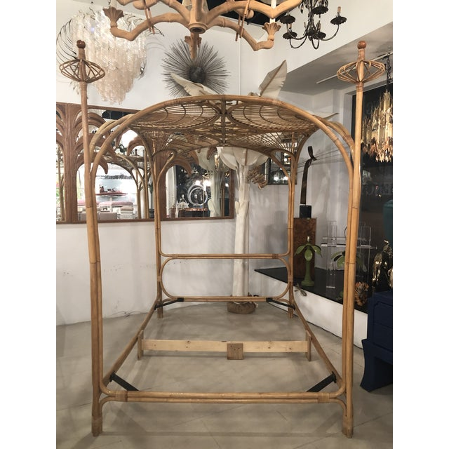 Vintage Tropical Boho Palm Beach Rattan Queen Size Canopy Bed For Sale - Image 13 of 13
