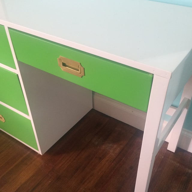 Lacquered Vintage Campaign Desk - Image 6 of 6
