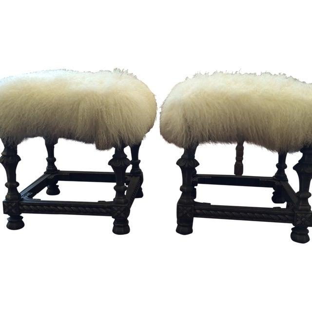Angora Pelt Footstools - Pair - Image 1 of 6