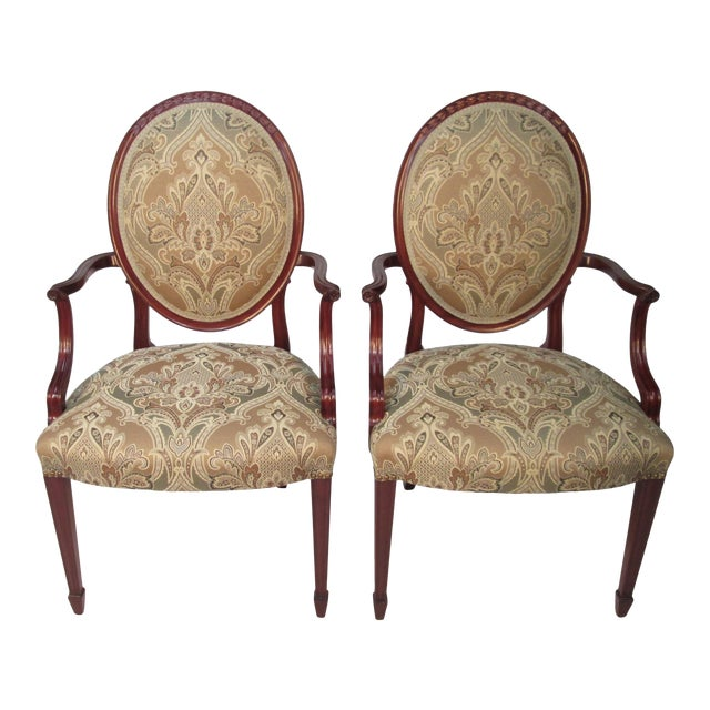 1940s Vintage Joseph Gerte of Boston Mahogany Arm Chairs - a Pair For Sale