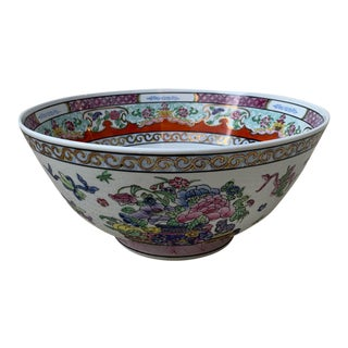 Vintage 18th Century Style Chinese Famille Rose Porcelain Large Bowl For Sale