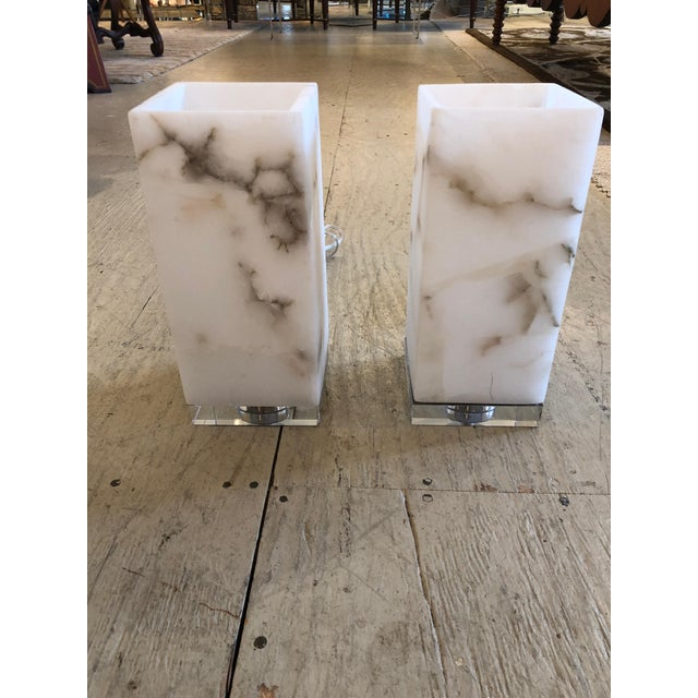 White Marble Cubes on Lucite Bases Table Lamps - a Pair For Sale - Image 8 of 8