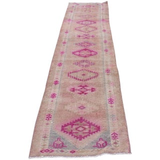 1970s Vintage Turkish Kurdish Pink Runner- 2′8″ × 12′5″ For Sale