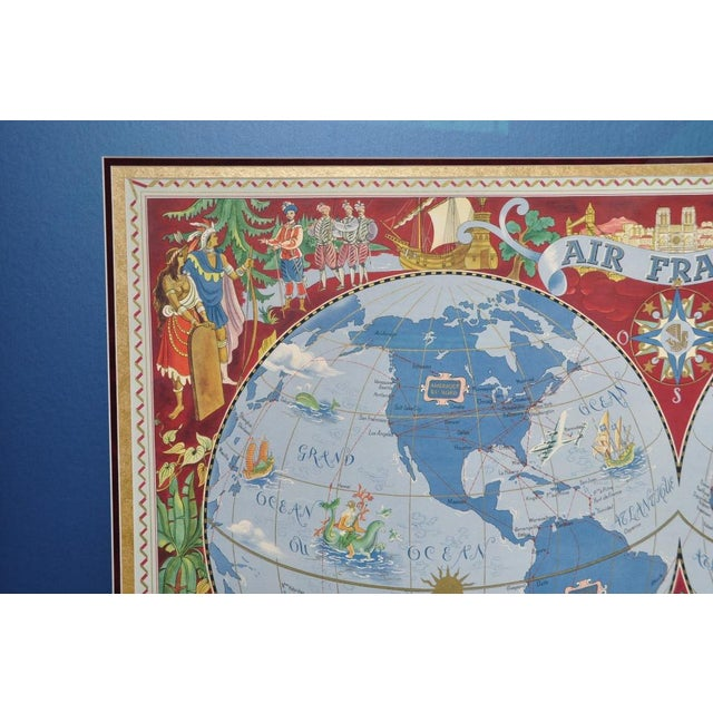 "Paint Large Framed 1952 Lucien Boucher ""Air France"" World Map Framed Poster Planisphere For Sale - Image 7 of 12"