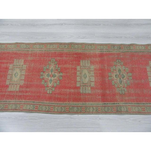 Turkish Vintage Decorative Turkish Oushak Runner Rug - 2′8″ × 10′3″ For Sale - Image 3 of 6