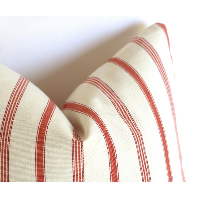 Offered is one Coral & Ivory pillow cover, made from 100% cotton canvas with woven French Mattress ticking stripe fabric....