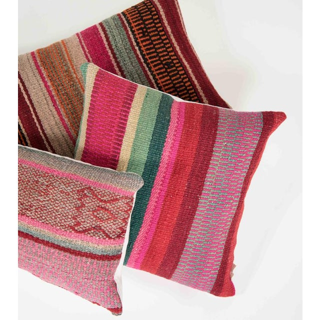 Red Striped Handwoven Peruvian Pillow - Image 5 of 5