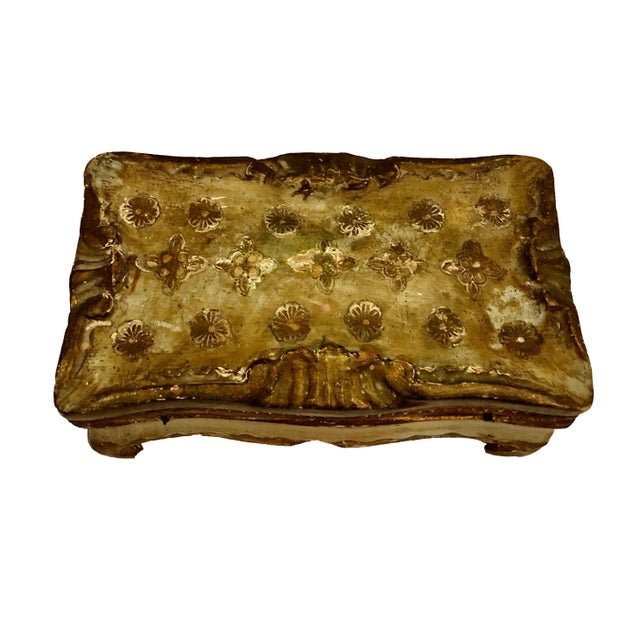 Italian Antique Gold Turn of the Century Florentine Box For Sale - Image 3 of 9