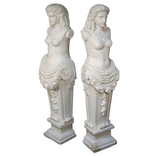 Early 20th Century Hand-Carved Carrara Marble Classical Greek Woman Maiden Statues- A Pair For Sale