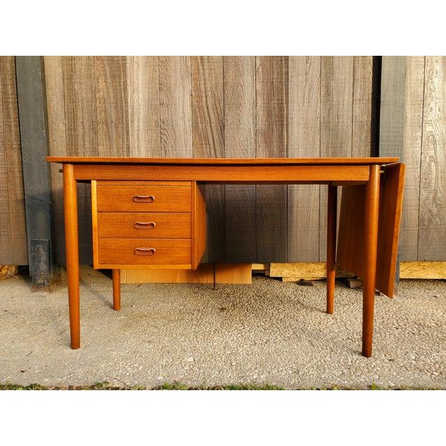 Mid-Century Modern 1950s Midcentury Danish Modern Arne Vodder Danish Teak Drop Leaf Desk For Sale - Image 3 of 13