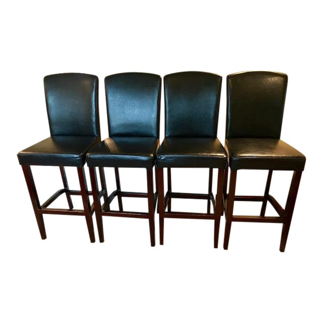 Top-Grain Leather Bar Stools, Classic and Clean-Lined - Set of 4 - Image 1 of 11