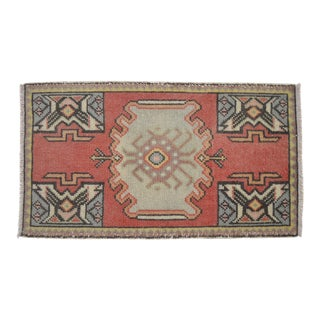 Distressed Low Pile Turkish Yastik Petite Rug Hand Knotted Faded Mat - 1'9'' X 3' For Sale