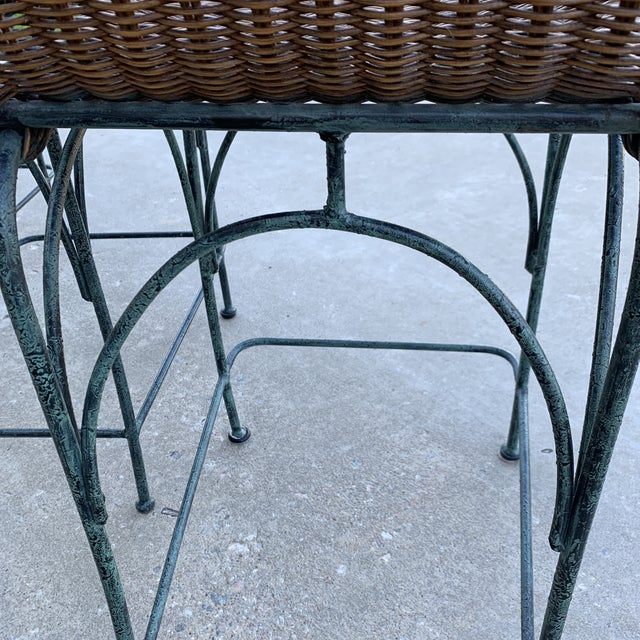 Wicker Vintage Wicker & Iron Bar Stools - Set of 3 For Sale - Image 7 of 12