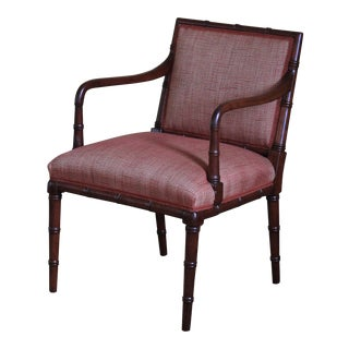 Regency Style Faux Bamboo Arm Chair For Sale