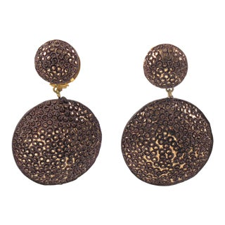 Fabrice Paris Dangling Clip Earrings Hickory Chocolate Textured Resin For Sale