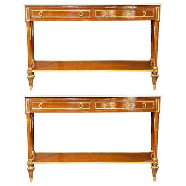 Pair of Louis XVI Style Marble Top Consoles / Sideboards in the Jansen Manner For Sale - Image 13 of 13