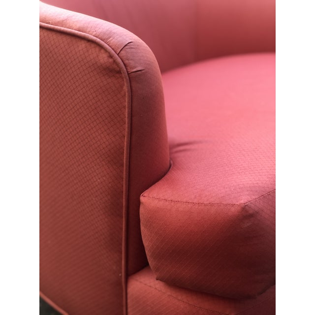 Red Vintage Milo Baughman Style Custom Swivel Chairs in Original Coral Fabric - a Pair For Sale - Image 8 of 11