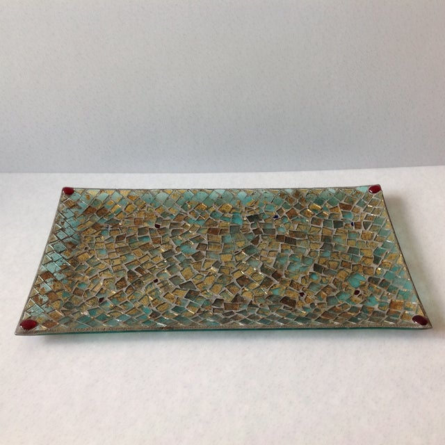 Gold Foil Glass Mosaic Tray - Image 8 of 11