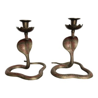 Vintage Old World Painted Brass Cobra Candlesticks - a Pair