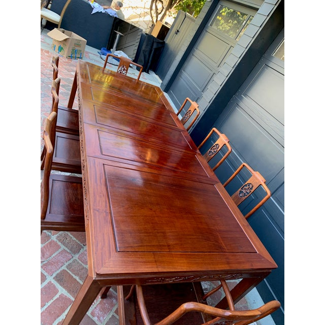Asian Vintage Solid Rosewood Dining Set - 9 Pieces For Sale - Image 3 of 13
